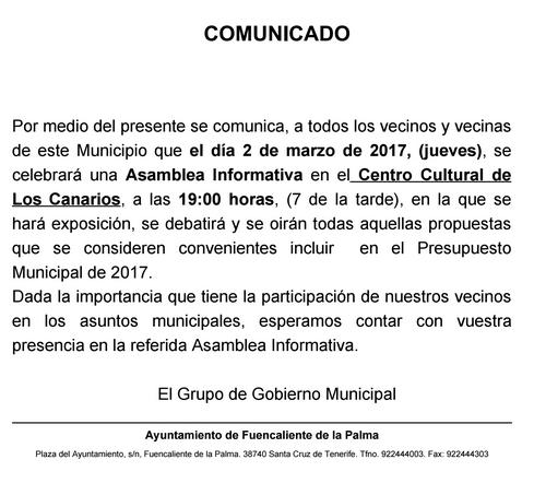 asamblea informativa reunión presupuesto 2017