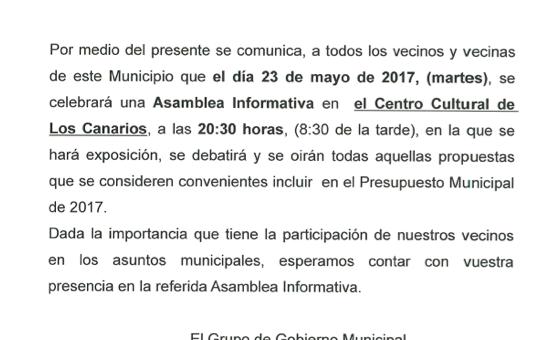 Asamblea informativa sobre presupuesto municipal 2017