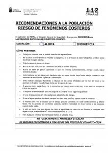 recomendaciones a la población por riesgo de fenómenos costeros 112