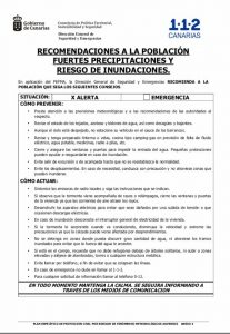 recomendaciones a la población por riesgo de inundaciones y fuertes lluvias 112